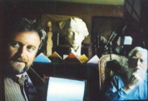 Bij Felix De Boeck thuis in atelier, 1989