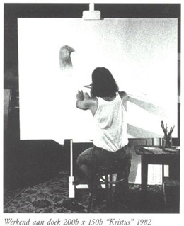 Working at the painting 2m x 1,5m representing « Kristus » 1982