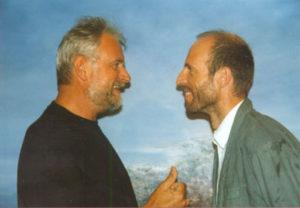 Met cabaretier Karel Declercq, 1997.