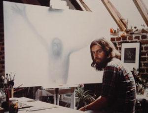 Kristus 1978 olie op doek 100 x 150cm in atelier (in kapel van het Sint-Jan Berchmanscollege te Brussel).