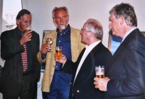 Hugo BRUTIN, Walter CAPIAU en burgemeester Marcus VANDENBUSSCHE in Casino Koksijde vernissage