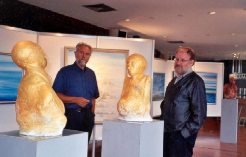 Willem Vermandere on visit on exhibition with Peter Vermandere in Casino of Koksijde, 2002
