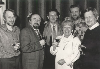 Architect Paul Van Praet, actor Paul Ricour, auteur Jef Elbers, actress Alice Toen and director Gie Lavigne in the studio-expo on the 27th of November 1992.
