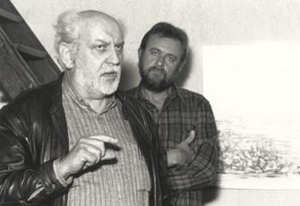 Actor - director Rudi van Vlaenderen inaugurates the exposition in the studio in December 1998.