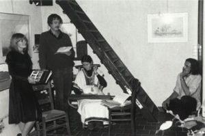 Poeziëavond met Brigiet, Jan De Vuyst en Hilda Van Eyck op tentoonstelling in atelier, december 1980.