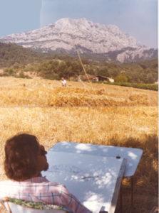 Aan het werk bij Mont-Saint-Victoire (Aix-en-Provence), juli 1980.