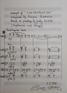 Part of the original score of « Contemplation » 1998, composed for Jacky Duyck by François Glorieux. In Jacky's studio in Dilbeek while preparing Koksijde's concert