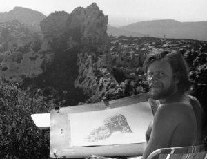 Aan het tekenen bij Les Baux de Provence juli 1980 in Z Frankrijk