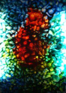 Glass window Jacky Duyck in crypt of Eigentijdse jeugd in Groot-Bijgaarden