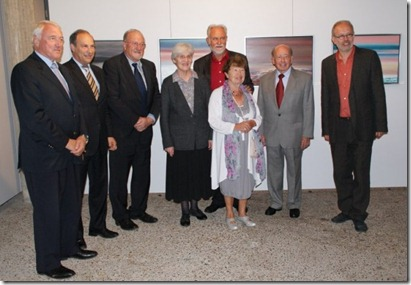 At the exhibition in presence of five Citizens of Honour of Dilbeek: